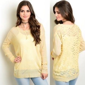 Sweaters - Boho Sweater Knit and See Through Lace Cream